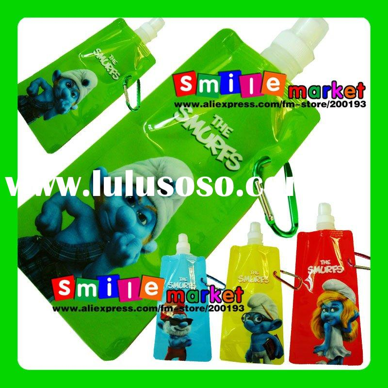 2012 the SMURFS style 16OZ(480ml) BPA-free 4colors plastic foldable water bottles cartoon