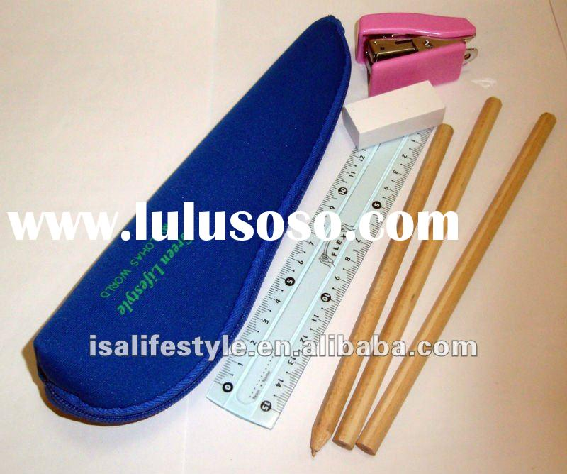 Lohas environment friendly stationery set with a portable neoprene pencil pouch No. ES001