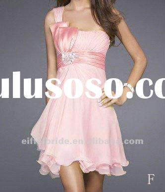 P142 One Shoulder Custom Made Various Colors Chiffon Knee Length Bridesmaid Dress