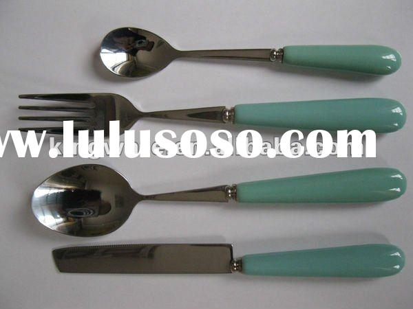 Hight quality ceramic handle 18/0 or 18/8 stainless steel flatware sets