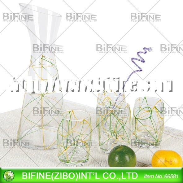 glass decanter set with hand drawing