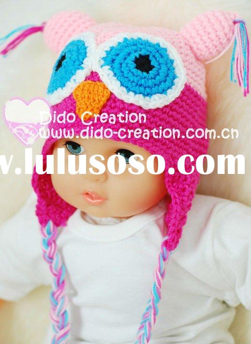 H05C063A2 Handmade fashion Crochet Baby Animal Hats cap Beanie flower animal new born baby gifts ear