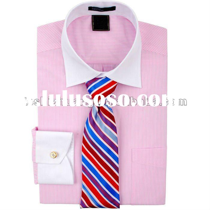 Small MOQ,100% men fancy cotton white collar slim fit shirts