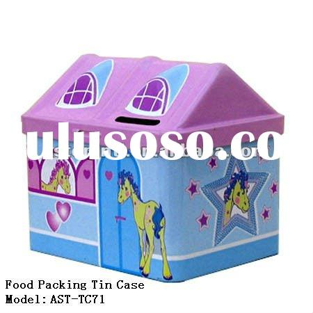 House-shaped tin case