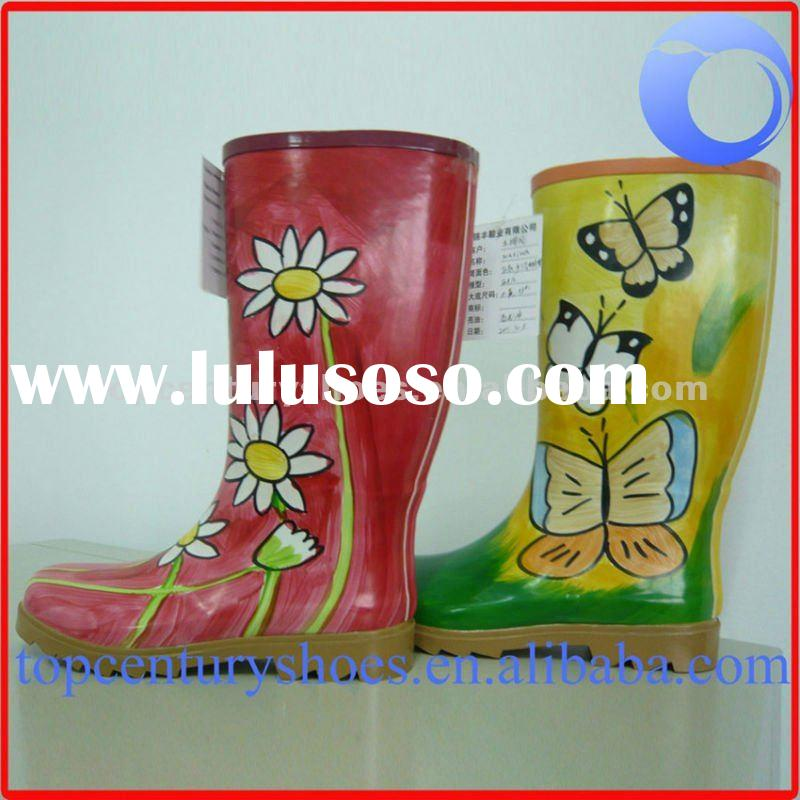 hand drawing rubber boots