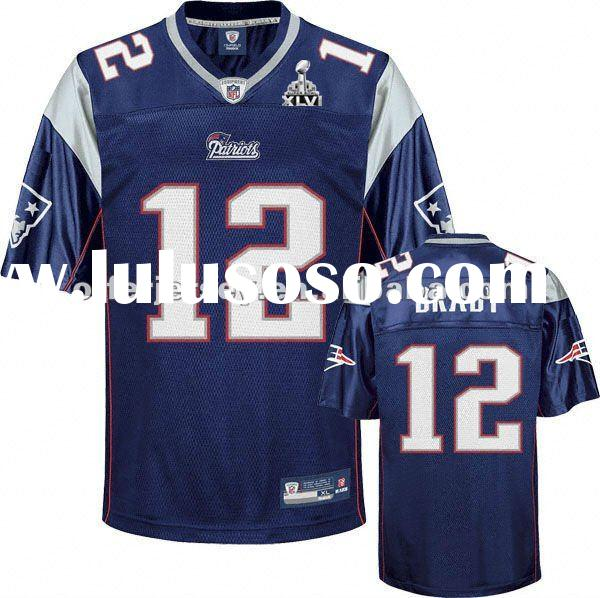 2012 Super Bowl XLVI New England Patriots Football Jerseys #12 Tom Brady Authentic White Jersey 48-5