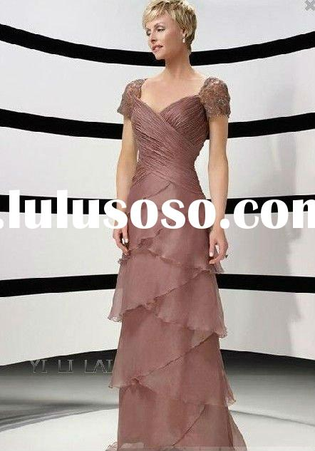 Brown Elegant Chiffon Cap Sleeve Long Evening Dress