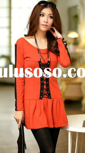 Fashion women top blouse with fake leather button 2012
