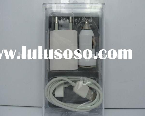 3in1 USB DATA CABLE CAR / WALL CHARGER KIT FOR IPOD IPHONE