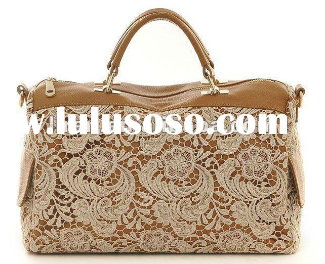 1&2 2012 New Design And Hot Selling Fashionable Genuine Ox Leather With Lace Ladies' Han
