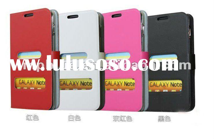 2012 new Hot selling Genuine flip leather case for Samsung Galaxy Note GT-N700 i9220 pink black red