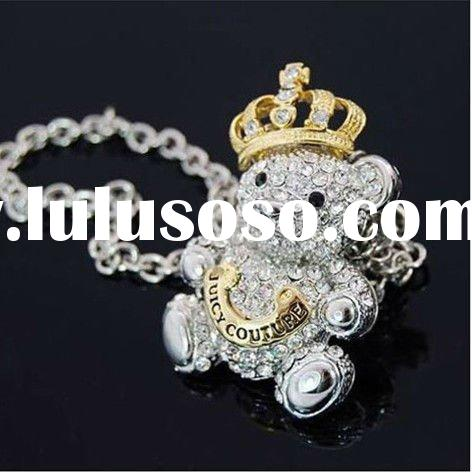 Exquisite lovely teddy bear and crown crystal pendant necklace