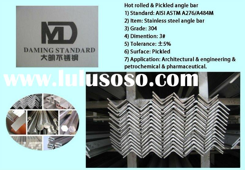 Hot rolled AISI ASTM 304 steel stainless steel angle bar angle steel