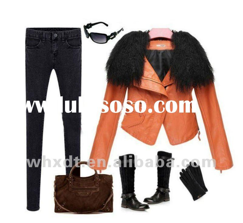 Popular ladies PU leather jackets newest spring style