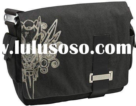 Print cotton canvas laptop shoulder messenger bag