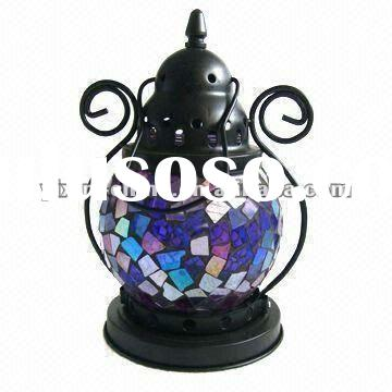 Slivery Mosaic Glass Candle Lantern For Decoration