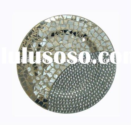 beautiful round mosaic glass with beads plate for decoration