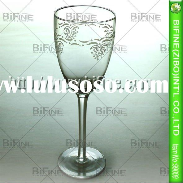 high quality glass red wine glass cup with decal