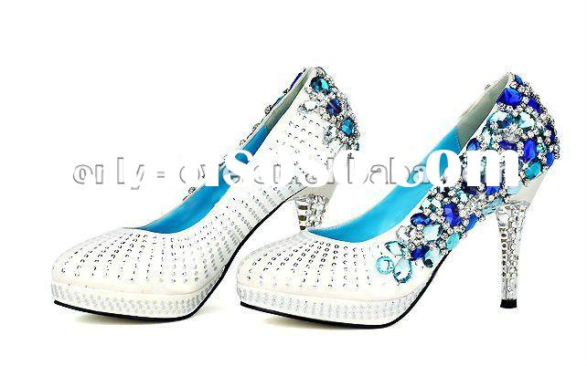 BS112 blue rhinestones bridal wedding shoes crystal evening shoes