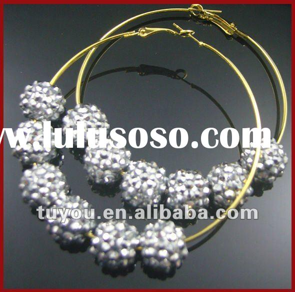 Wholesale Bling Shamballa Resin beads Earrings (TY-E12149)