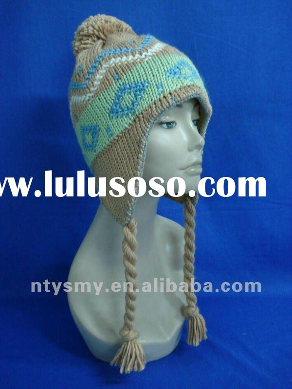 2012 new design fashion jacquard knitted earflap hat