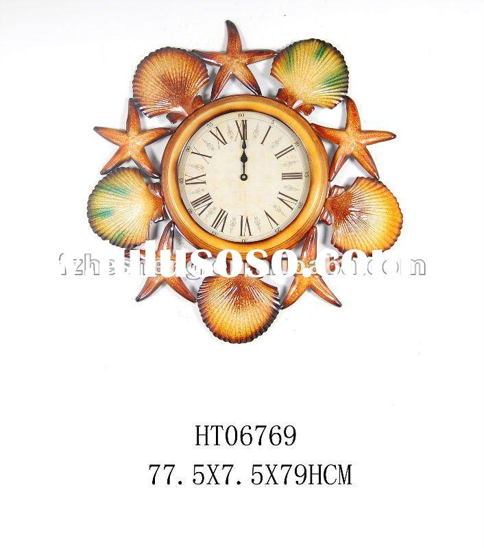 "30"" metal wall clock with shell decorative"