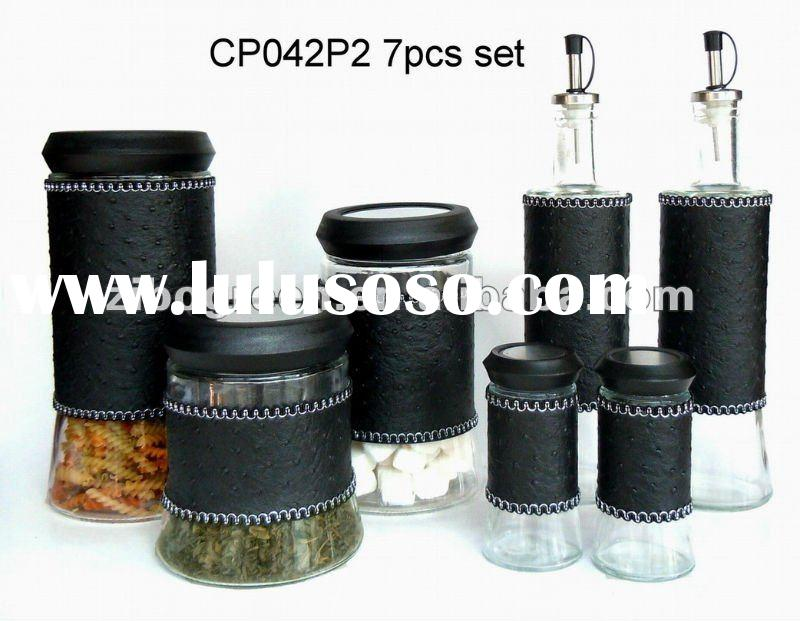 7pcs glass jar set with leather coating (CP042P2/7)