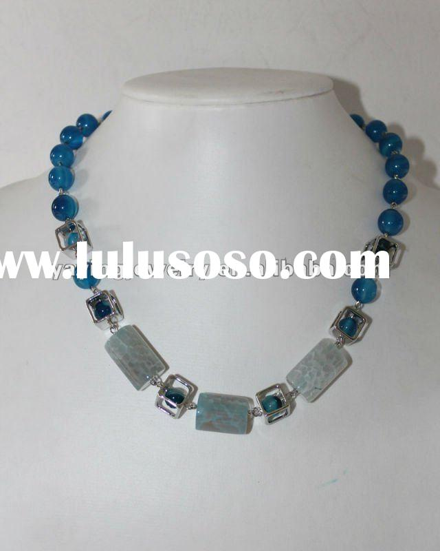 New style short agate beaded necklace jewelry with alloy