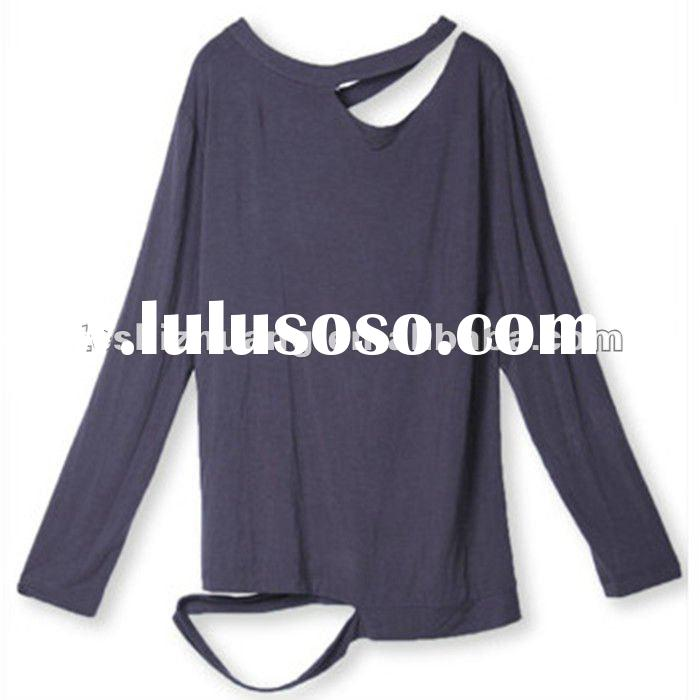 The best price,100 cotton long sleeve, fashion designer T-shirts with a hollow hem and neck