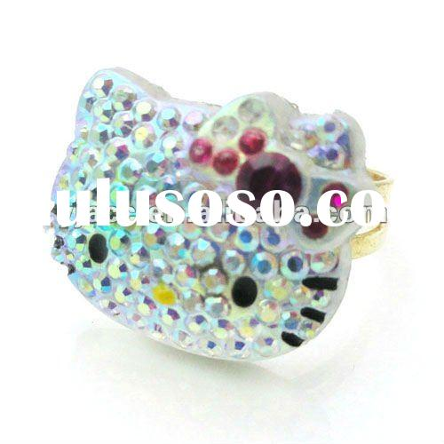 adjustable hello kitty ring with AB stones