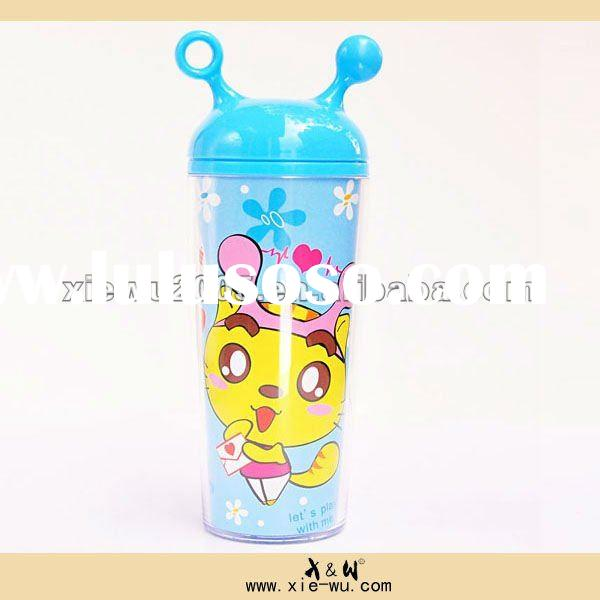 promotion advertising double wall plastic bottle/lovely insulted sport cup