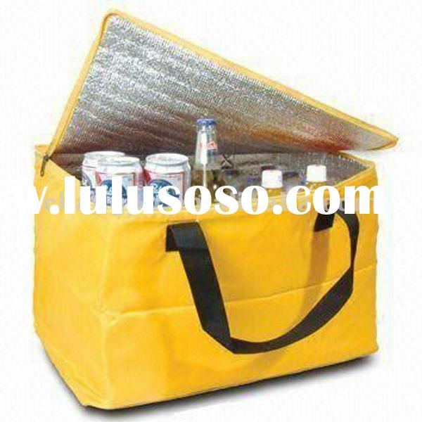 Reusable yellow wine cooler bag