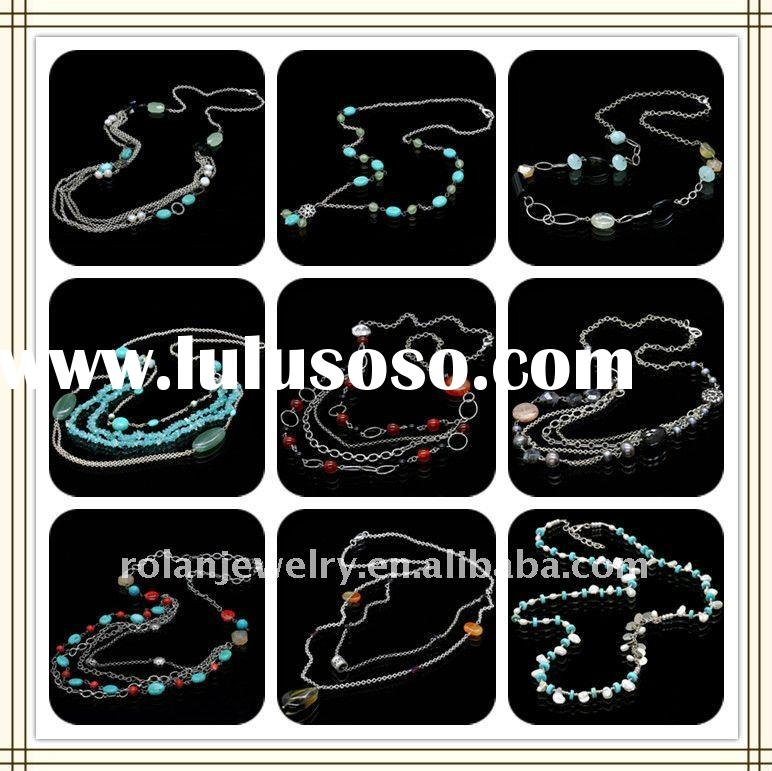 2012 accessories for woman necklace, gemstone necklace,crystal/turquoise/pearl/agate necklace