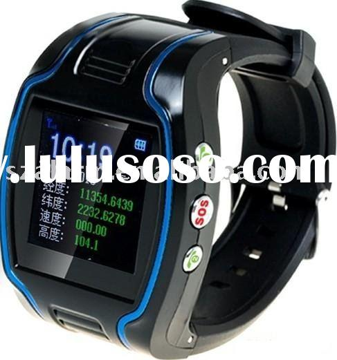GSM GPRS monitor real-time tracking gps wrist watch with SOS alarm button/fast dial button
