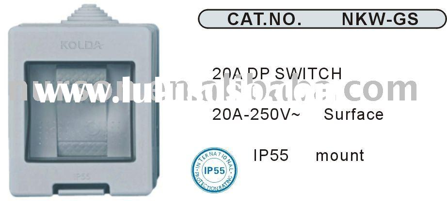 IP55 waterproof 1 gang 1 way switch and water proof one gang one way switch