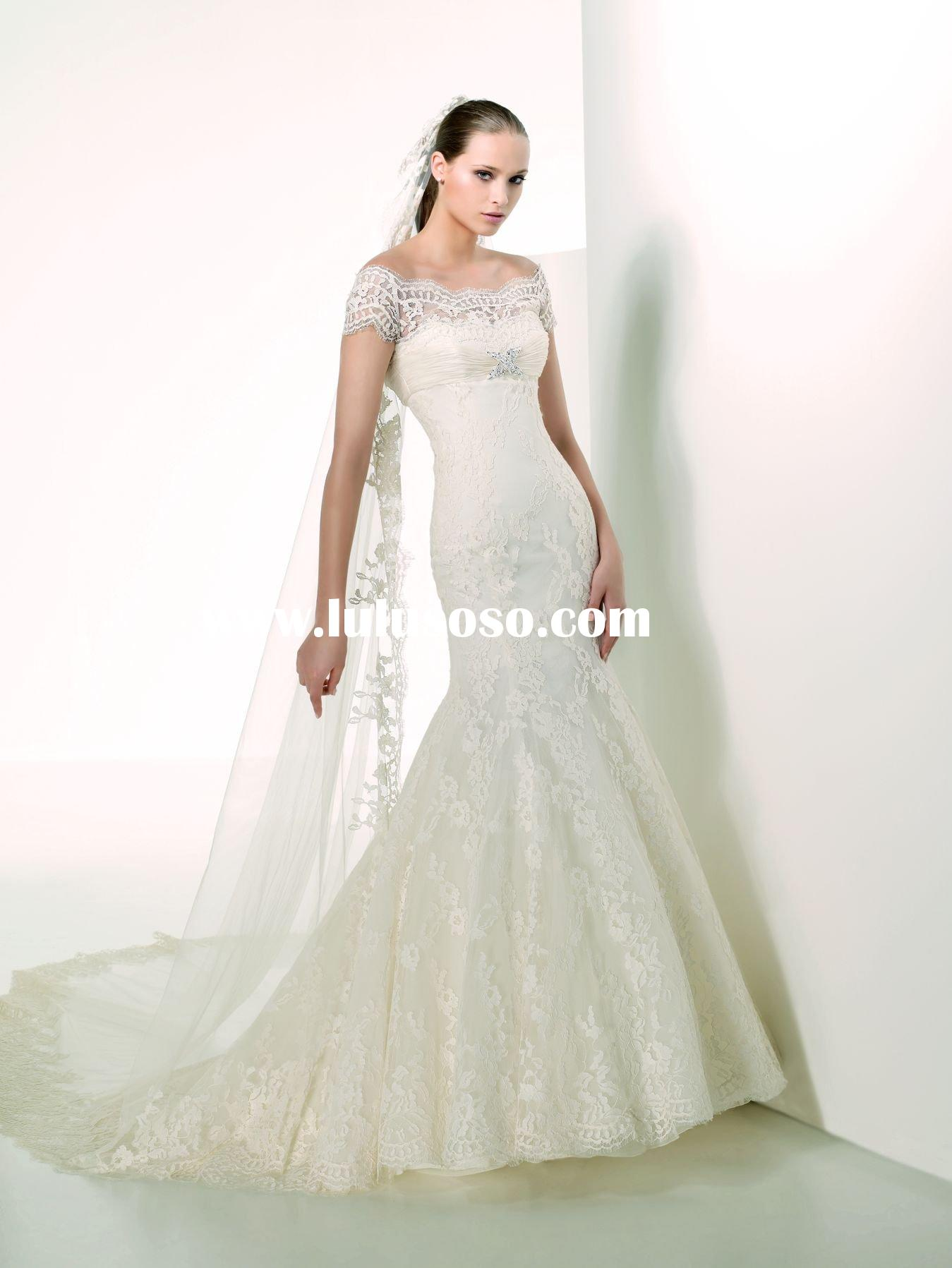 w470 High quality lace short sleeve mermaid wonderful wedding dress