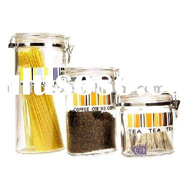 3Pcs Oval Shape Storage Glass Jar Set w. Airtight Glass Lid