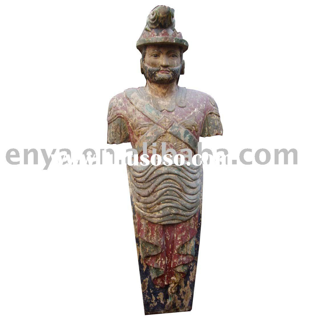 Antique Wood Carving Sculpture, Wooden Carved Statue, Home Decoration