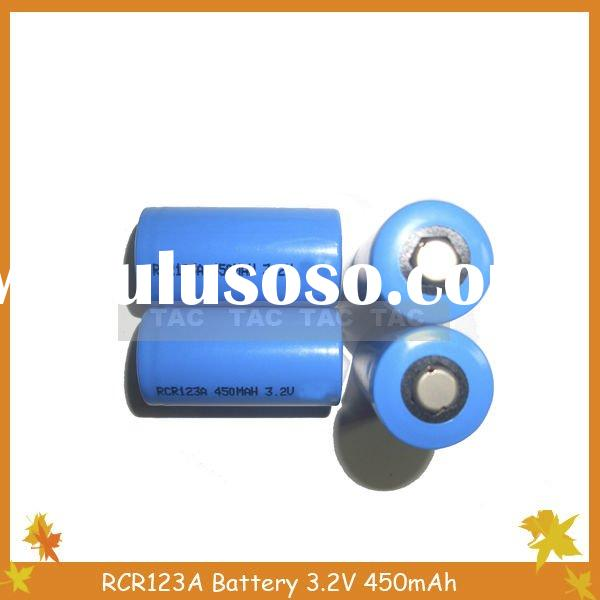 LiFePO4 Rechargeable Lithium Battery 3.2V RCR123A 450mAh