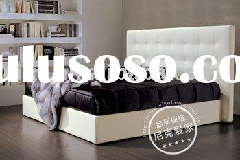 Modern White Leather Double bed Bedroom furniture