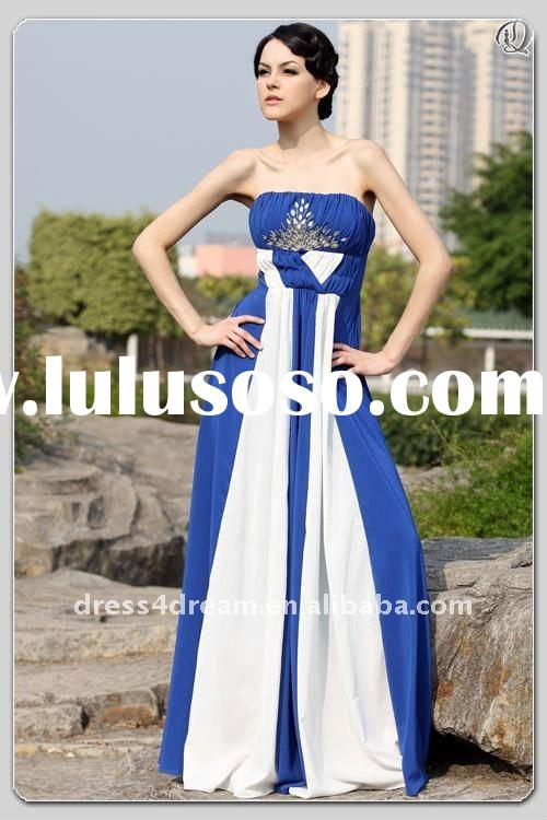 The latest design royal blue and white wedding dresses 2012 with beaded and pleaed
