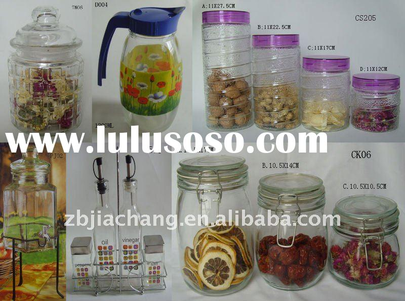 clear cylinder glass storage bottle for food