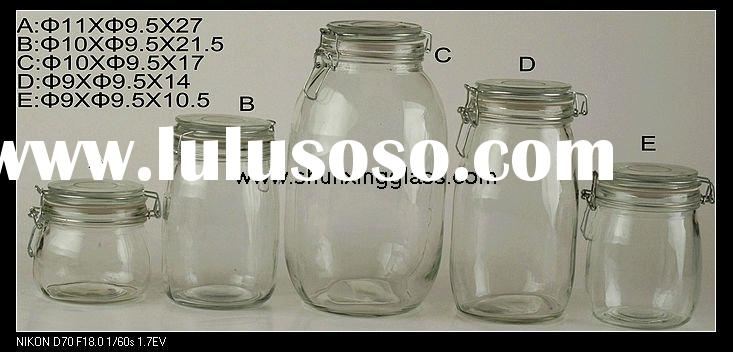 glass jar with glass lid and gasket