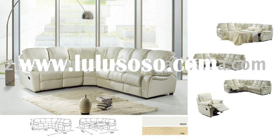 modern leather sectional sofa with sofa bed S8006