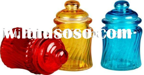 multicolor glass storage jar with glass lid