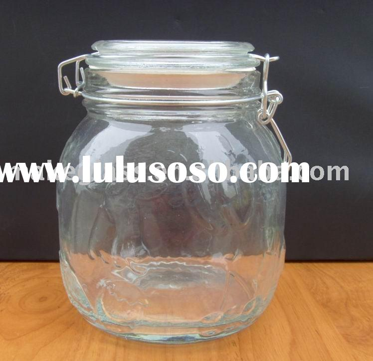 round glass seal jar with rubber mats with metal clip