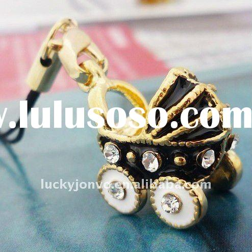 107-1-BKG Free shipping new cheap baby stroller cell phone charm jewelry