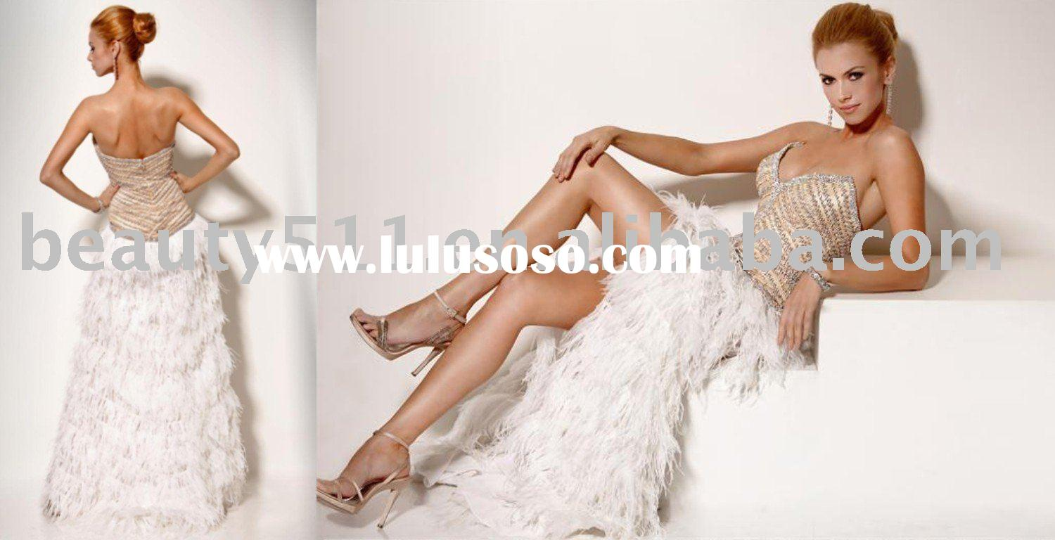 2010 New Fashion Feather Evening Dress Party Dress Prom Gown CAC705