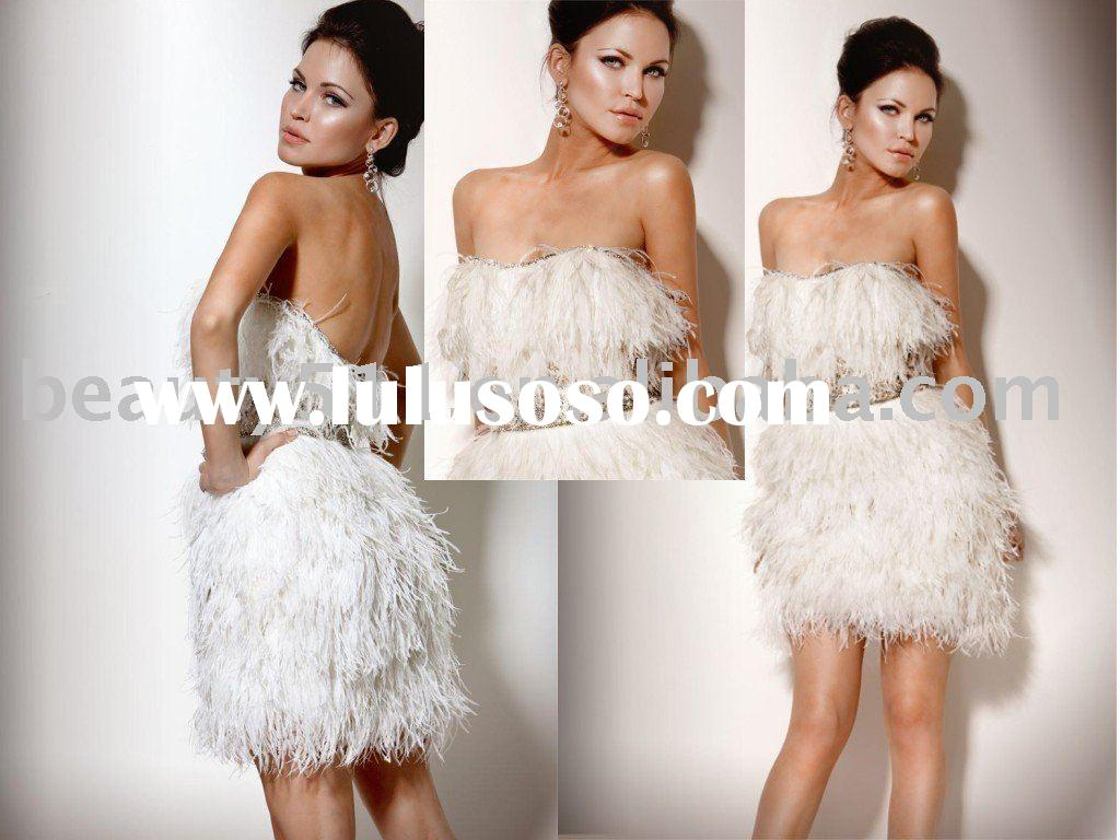 2010 New Fashion Feather Party Dress Prom Gown CAC677