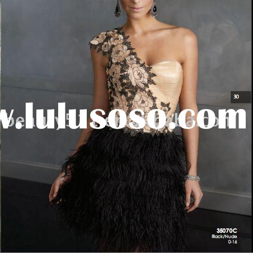 2011 Hot Sale Short Length One shoulder Feather Party Dress JM380